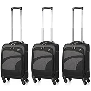 Aerolite Ultra Lightweight Carry On Hand Cabin Luggage Spinner Suitcase Travel Trolley with 4 Wheels (3 x Cabin, Black)