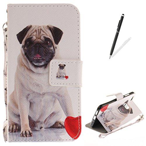 KaseHom Compatible with Case Huawei P10 Lite Flip Magnetisch Leder Hülle Brieftasche Fall Kratzfest Haut Schlankes Silikongel Stoßstange Ganzkörperschutz Abdeckung für Huawei P10 Lite-Süßer Hund