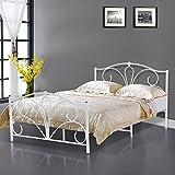 Popamazing Doppelbett weiß Metall Bett Bett/Matratze Foundation Boden