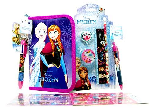 Die Eiskönigin 7 TLG. Frozen Set - Federtasche + 4 TLG. Schreibset + 6-farb Kugelschreiber + Kugelschreiber + 16 Frozen Sticker - Federmäppchen / Federtasche / Schüler-Etui für die Schule