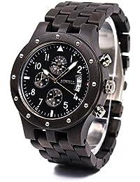 34a2c9c4d726 Bewell Reloj Madera negra africana para hombre unisex Tres cronómetros y  las gías lumisionas ofrecen la
