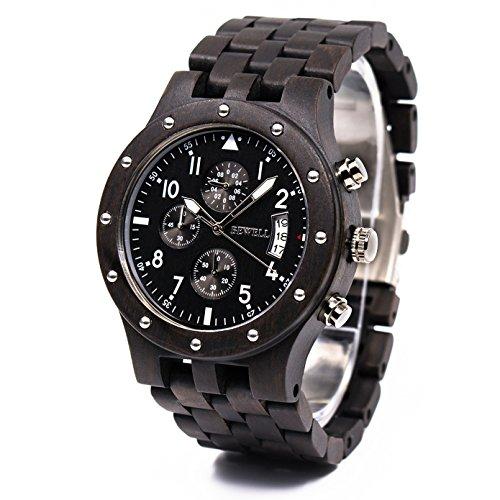 Bewell Männer Retro Style Analog Quartz Armbanduhr aus natürlichem Holz leichter als Metall Uhren mit Funktionen von Kalender und leuchtende Display w109d (schwarzes Sandelholz)
