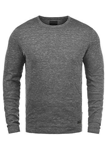 PRODUKT Primus Herren Strickpullover Feinstrick Pullover mit Rundhals und Melierung, Größe:M, Farbe:Grey Melange