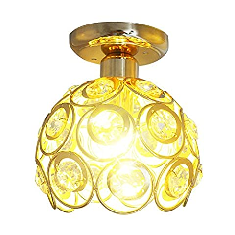 Antique Metal Crystal Hollow Semi Flush Mount Ceiling Light with 1 E27 Socket 40W Painted Finish Height: 23