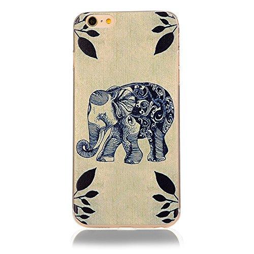Custodia Cover per iPhone 6/6s, Cover Silicone Morbido Trasparente Protective Case TPU Gel Ultra Sottile Cassa Protettiva Design per iPhone 6/6s - Cielo Colorato Elefante