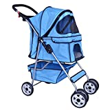 BestPet Blue 4 Wheels Pet Stroller Cat Dog Cage Stroller Travel Folding Carrier