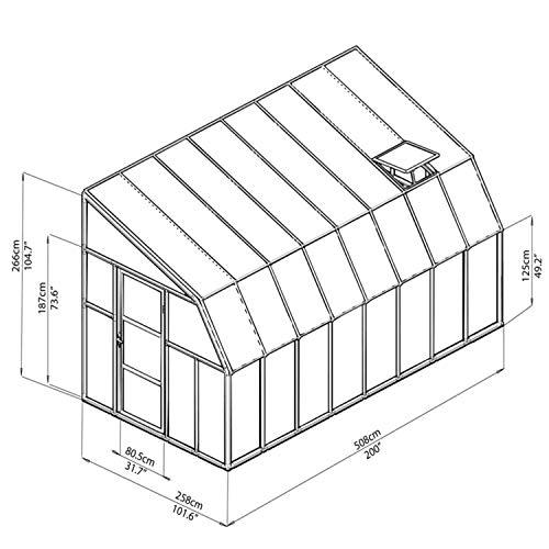 """RION Kunststoff Anlehngewächshaus / Wintergarten """"Sun Room 48"""" (508 x 258 x 266cm (TxBxH) + Dachfenster"""