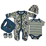Unisex Safari Animals Presents Gifts for Newborn Baby Boys Girls Toddler Unisex Cute Clothing Sets Sleepsuit Vest Bib Hat Outfits Bundles Pack