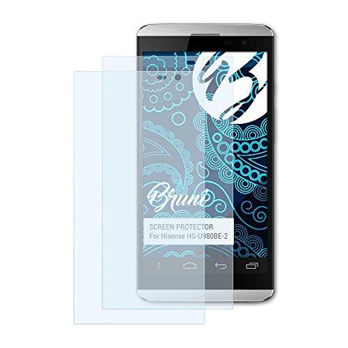 Bruni Schutzfolie kompatibel mit Hisense HS-U980BE-2 Folie, glasklare Bildschirmschutzfolie (2X)