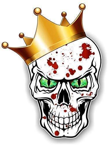 Gothic King Of Totenkopf Design Tragen Crown mit Grün Böse Augen und Blutspritzer Motiv für Hip Hop Skate Board & Rapper Vinyl Auto Aufkleber 115x85mm By Ctd