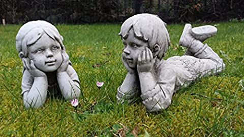 CHILD BOY AND GIRL - DETAILED CAST STONE GARDEN ORNAMENT