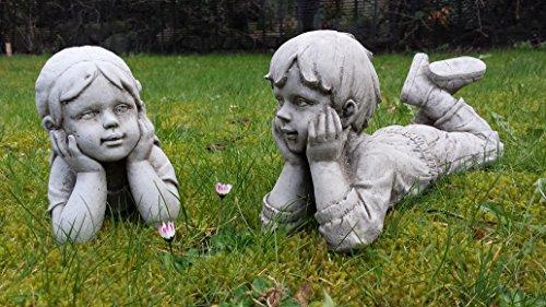 Statuette di bambino e bambina Statuette di gesso ornamentali da giardino/ statue/ sculture