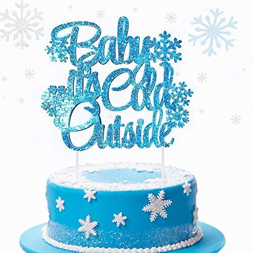 JeVenis Glitter Silver Baby Es ist kalt Außerhalb Cake Topper Winter Wonderland Cake Topper Babyparty Cake Topper Winter Babyparty Dekorationen Weihnachten Cake Topper (Winter Wonderland Weihnachten Dekorationen)