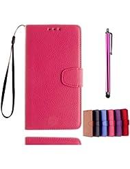 KSHOP Case Cover für Samsung Galaxy A7(2016) A710 Hülle Tasche Schutzhülle Schale Bookstyle Handyhülle Premium PU-Leder Rosa Etui Handy Schutz Brieftasche Magnetverschluss - Metall Touch-Pen Rose Red