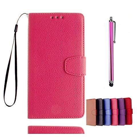 KSHOP Case Cover für Huawei Ascend Y550 Hülle Tasche Schutzhülle Schale Bookstyle Handyhülle Premium PU-Leder Rosa Etui Handy Schutz Brieftasche Magnetverschluss - Metall Touch-Pen Rose Red