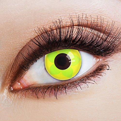 aricona Farblinsen Farbige Kontaktlinse Flower Power   – Deckende Jahreslinsen für dunkle und helle Augenfarben ohne Stärke, Farblinsen für Karneval, Fasching, Motto-Partys und Halloween Kostüme