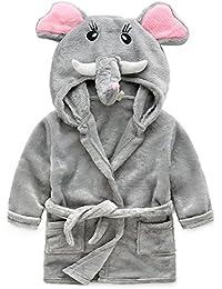 Peignoir Sortie de Bain Enfant - LATH.PIN Anime Animal Peignoir à Capuche en Flanelle Serviette de Bain Doux Robe de chambre pour Filles Garçon - Taille 90cm-130cm