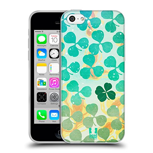 Head Case Designs Mousse Verte Modèles De Trèfle Étui Coque en Gel molle pour Apple iPhone 5 / 5s / SE Sarcelle