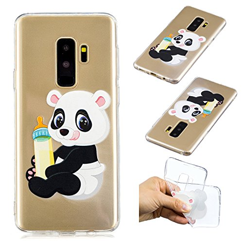 "CaseLover Galaxy S9 Plus Hülle, Transparent Tasche Schutzhülle Mode Handy Case Samsung Galaxy S9+ 6,2"" Silikon Case, Weiche TPU Handyhülle Shockproof Handy Cover, Panda und Babyflasche"