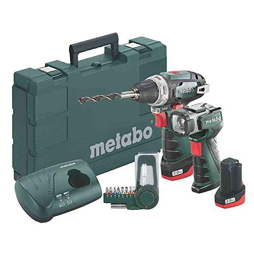Metabo Akku-Bohrschrauber Lampe Powermaxx BS Basic Set,  2x 10,8 V/2 Ah, 1 Stück, 600080530