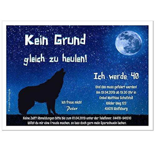 Moderne Einladungen zum Geburtstag 18 20 25 30 40 mit Spruch - cool lustig Wunschtext ändern, 10 Karten - 17 x 12 cm