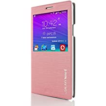 Samsung S-View Funda , URCOVER Carcasa Protectora Completa View Case Funda Libro Samsung Galaxy Note 4 Fucsia