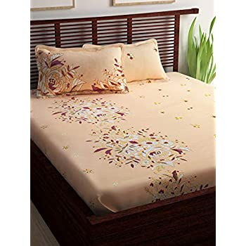 Story@Home Floral Print 240 TC 100% Cotton Double/Queen Size Bed Bedsheet with 2 Pillow Covers, Peach