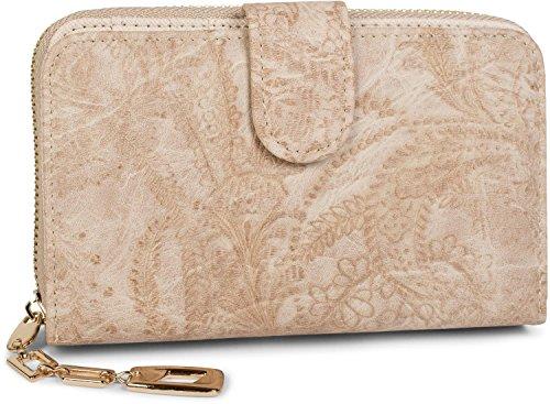 styleBREAKER Geldbörse mit Paisley Blumen Blüten Prägung, umlaufender Reißverschluss, Portemonnaie, Damen 02040098, Farbe:Beige