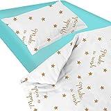 Baby Make A Wish (Etoiles) - SoulBedroom Linge de lit pour bébé (Housse de couette 100x140 cm et Taie d'oreiller - 100% Coton)