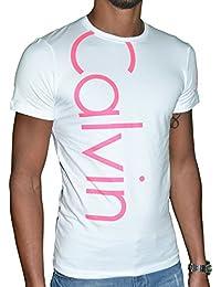 CALVIN KLEIN JEANS - T-shirt homme manches courtes - trois logos - NOIR ET BLANC - SLIM FIT