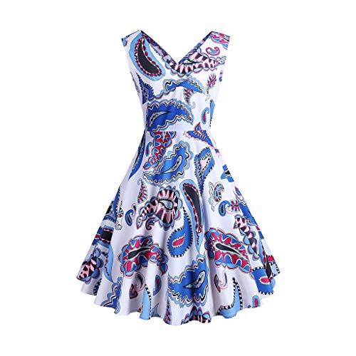 lkleid Vintage Retro Schwingen Rockabilly Swing Kleider Blumenmuste Abendkleider Partykleid V-Ausschnitt Faltenrock Ballkleid(X1-Weiß,EU-36/CN-M) ()