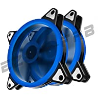 EASYDIY 120mm Blau Dual Ring LED Silent Lüfter für Computer-Gehäuse, CPU-Kühler und Kühler Ultra-leise High Airflow Computer Gehäuselüfter, 3-Pin Two Pack