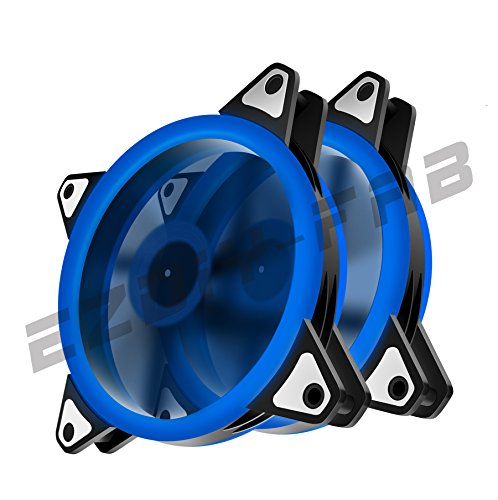 EASYDIY 120mm Blau Dual Ring LED Silent Lüfter für Computer-Gehäuse, CPU-Kühler und Kühler Ultra-leise High Airflow Computer Gehäuselüfter, 3-Pin Two Pack (50 Cfm Lüfter Motor)