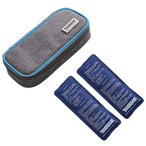 Insulin kühltasche, Diabetiker Tasche für Medikamente Diabetikerzubehör Thermotasche mit 2 Kühlakkus - Blau