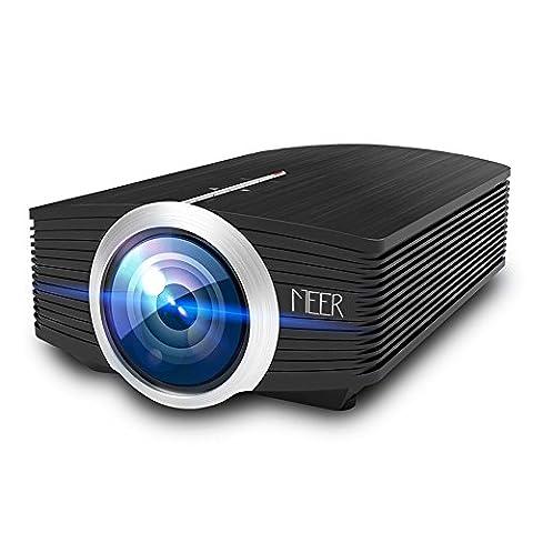 Beamer, MEER 1600 Lumen LCD Mini Portable Projektor, Multimedia Heimkino Video Projektor unterstützt 1080P HD, 130 '' Große Bildschirmgröße, mit HDMI / VGA / AV / USB / TF Schnittstellen für TV PC Laptop Kopfhörer iphone Filme und Video Spiele, Schwarz