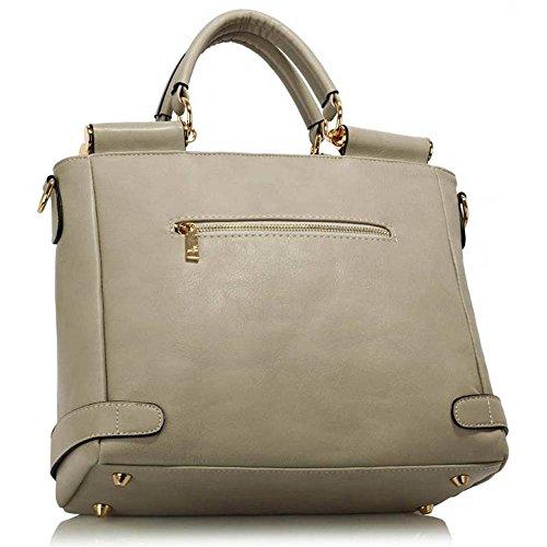 Neu Frauen Entwerfer Handtaschen Damen imitat Leder Schulter für Leinentrage Greifer Taschen Z Grau/Weiß 2
