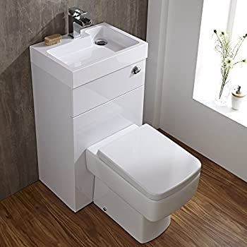 Hudson Reed WC avec Lave-Mains Int/égr/é Coffrage R/éservoir