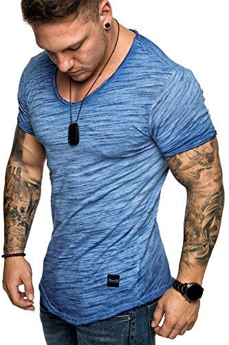 REPUBLIX Oversize Herren Vintage T-Shirt Verwaschen V-Neck Basic V-Ausschnitt Shirt R16 Blau S