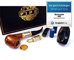 EXKLUSIVE ELEKTRISCHE PFEIFE 618 MIT WECHSELBAREM TANKVERDAMPFER IN HOLZOPTIK IM KOMPLETT-SET - e-Pfeife/e Pfeife/e-Pipe