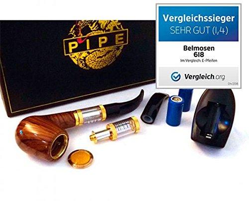 EXKLUSIVE ELEKTRISCHE PFEIFE 618 MIT WECHSELBAREM TANKVERDAMPFER IN HOLZOPTIK IM KOMPLETT-SET - e-Pfeife/e Pfeife/e-Pipe (Tabak-elektrische Pfeife)