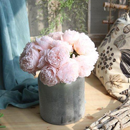 LuckyGirls Unechte Blumen,Künstliche Deko Blumen Gefälschte Blumen Seiden Pfingstrose Plastik Blumenstrauß 5 Köpfe Braut Hochzeitsblumenstrauß für Haus Garten Party Blumenschmuck (Rosa2)