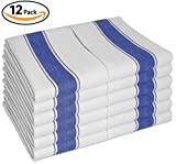 Vintage Tea Towels 12pk With Loop (100% Cotton Large 70X50 cm) - Longer Lasting, Super Absorbent In White with Blue Stripes - Unique Herringbone Design for Fast Drying & Low Lint - The Best Tea / Hand Towels for Your Kitchen Guaranteed