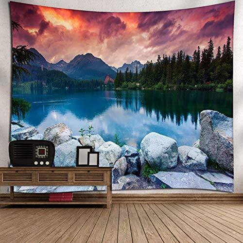 Abstract Wolle (XIAOBAOZIGT Wandbehang Digitales Druckmuster 3D Bergspitze Unter Sonnenuntergang Landschaftswandkunst Wohnzimmerschlafzimmer-Schlafsaaldekoration 150×200Cm)