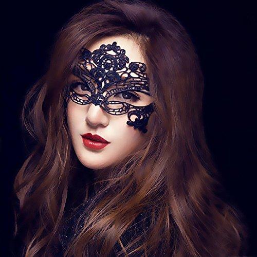 Beautynie Damen Masquerade Maske Frauen Spitze Maske Venedig Sexy Schmetterling Maske Halloween Party Mask Zubehör Festival Karneval Kostüm Verkleiden Spielzeug Cosplay Party Masken (Schwarz)