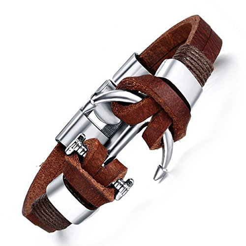 Mens Brown echtes Leder Armband Anker Charme Manschette Armband 21cm