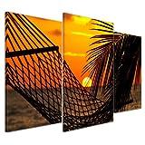Kunstdruck - Palmen, Hängematte und Sonnenuntergang - Bild auf Leinwand - 100x60 cm 3 teilig - Leinwandbilder - Bilder als Leinwanddruck - Urlaub, Sonne & Meer - Sonnenuntergang in der Südsee