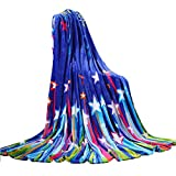 shinemoon blau Farbe Sterne weich Flanell Fleece Leicht Baby Boy Mädchen Wickeltücher Überwürfe für Bett Sofa Auto Sitz, Colorful Stars, 150x200cm