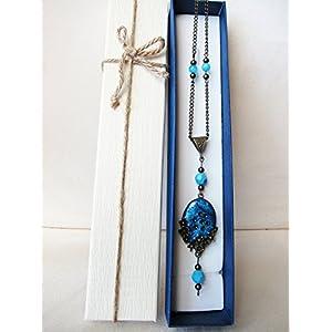 Anhänger Halskette handgemachte Kristallbasis mit blauer und Blumen.