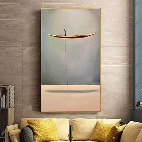 Golden Boat Abstrakte Kreative Lonely Thinker Leinwand Malerei Poster Und Drucke Wandkunst Bilder Für Wohnzimmer Cuadros Decor 40x70 cm Kein Rahmen NP147