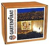 LED Lichternetz 3x3 m Batterie 200 LED warmweiß Timer außen von Gartenpirat®